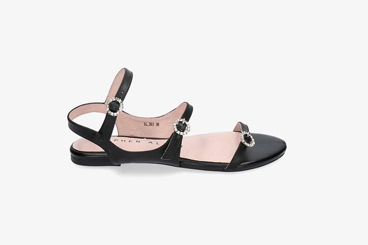sandalia plana negra pablo ochoa