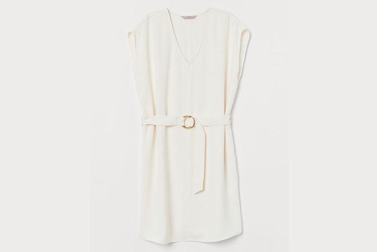 vestido blanco cinturon hm