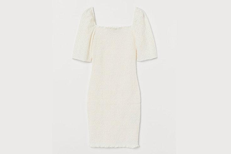 vestido corto blanco fruncido hm