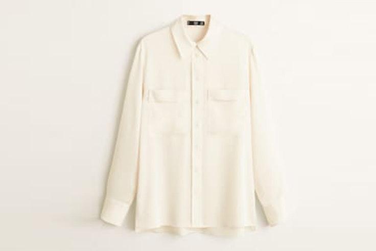 camisa beige mango
