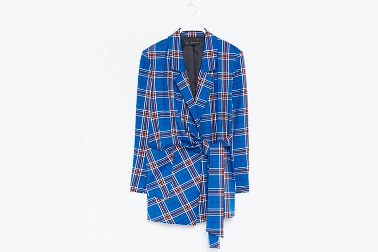 chaqueta estampado cuadros azul eléctrico sfera