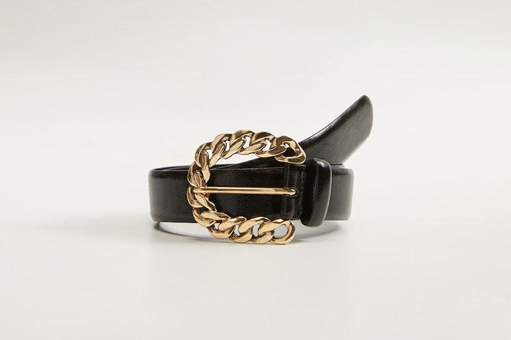 cinturon negro hebilla cadena dorado mango