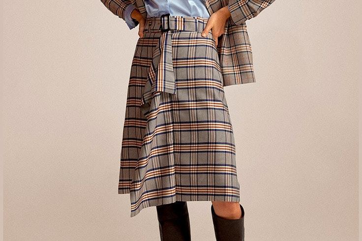 faldas midi estampado cuadros cortefiel