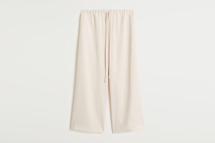 pantalon blanco culotte mango