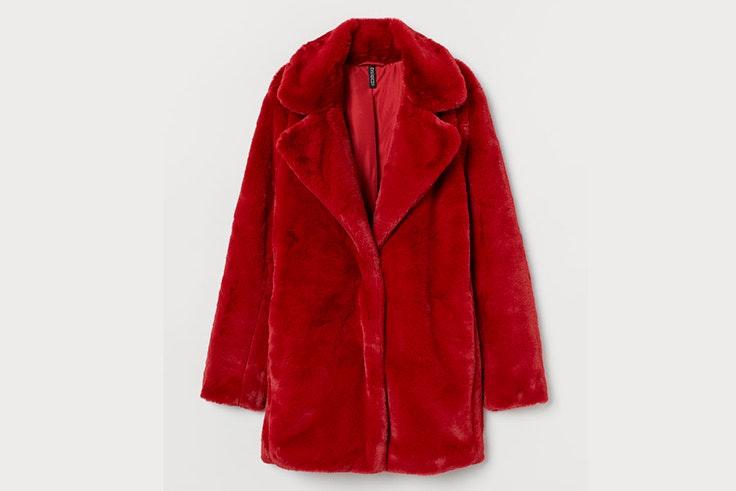 abrigo borreguito color rojo hm