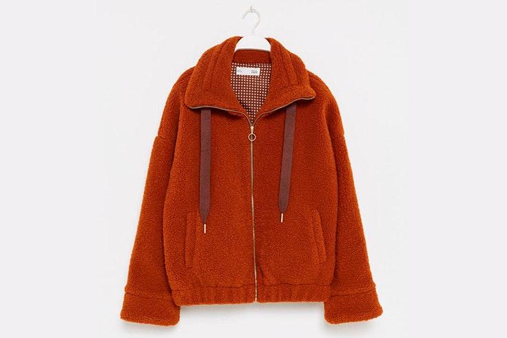 abrigo de borreguito color rojo sfera