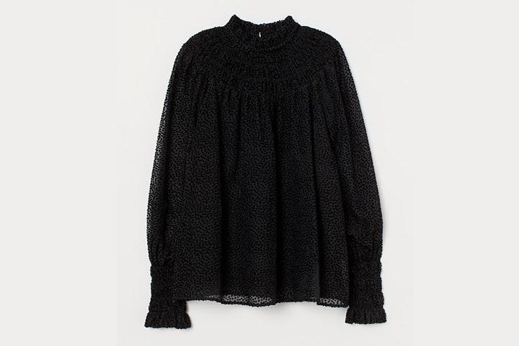 blusa negra estampado hm