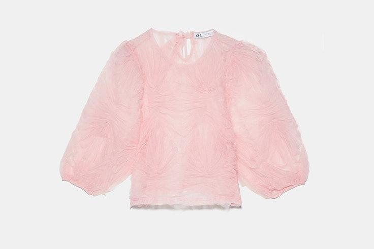 blusa rosa tul manga abullonada zara