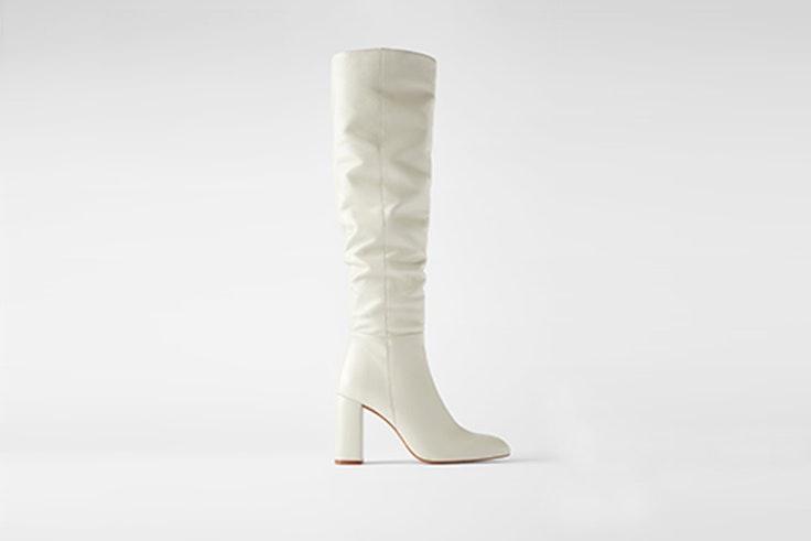 botas caña alta color crudo de zara calzado de otoño