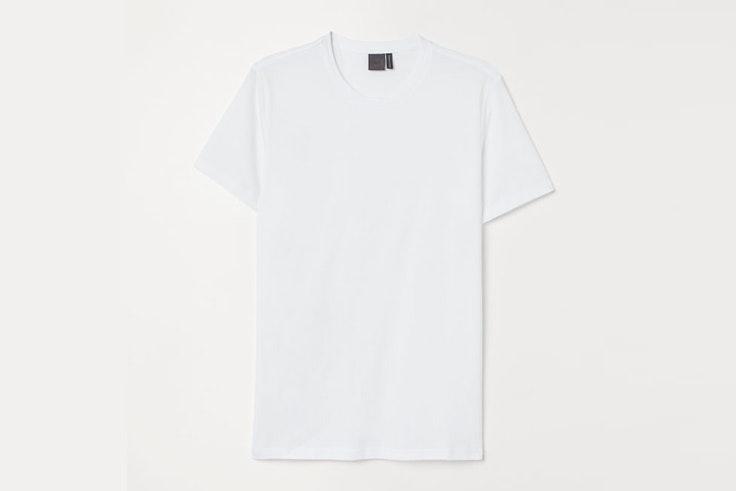 camiseta blanca manga corta hm