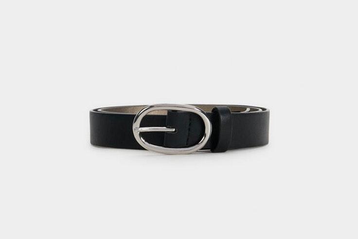 cinturón hebilla plata negro parfois