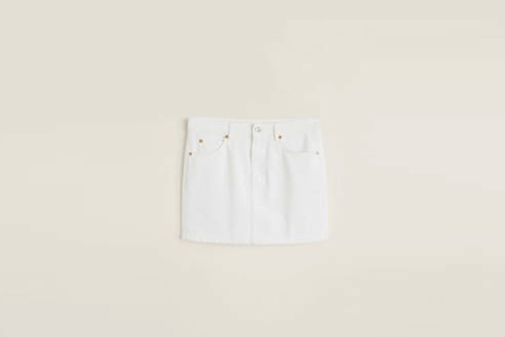 mini falda denim blanco mango faldas