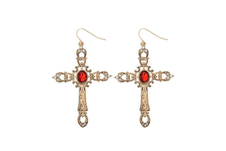 pendientes de cruz dorada con piedra roja de bijou brigitte