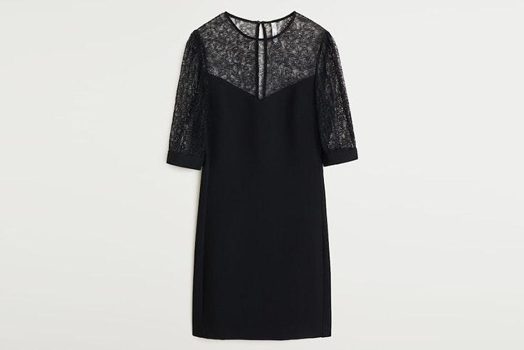 vestido negro encaje mango