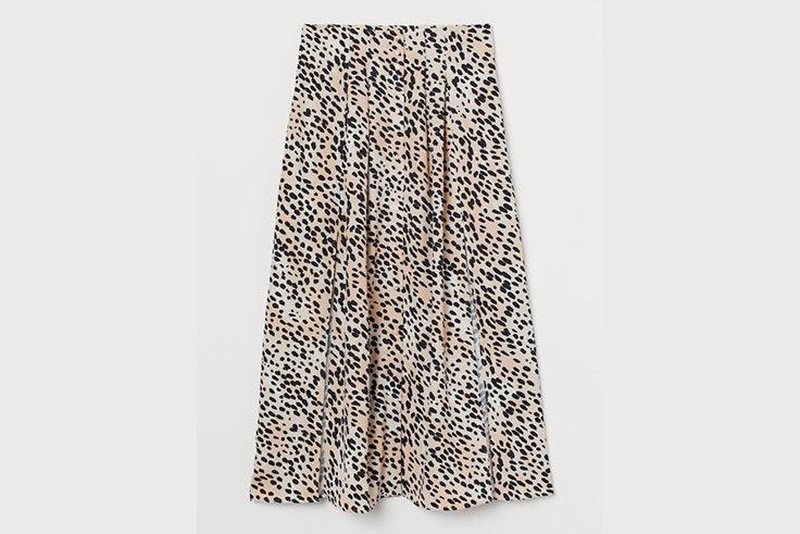 Falda Midi con estampado de leopardo de H&M animal print