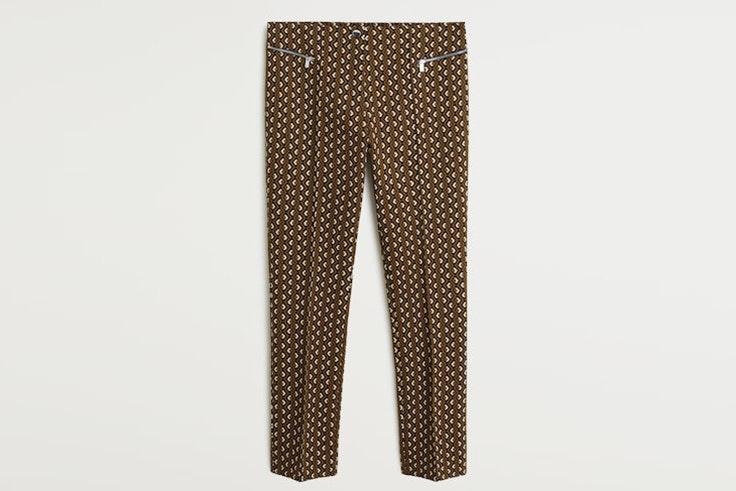 pantalón estampado marrón mango
