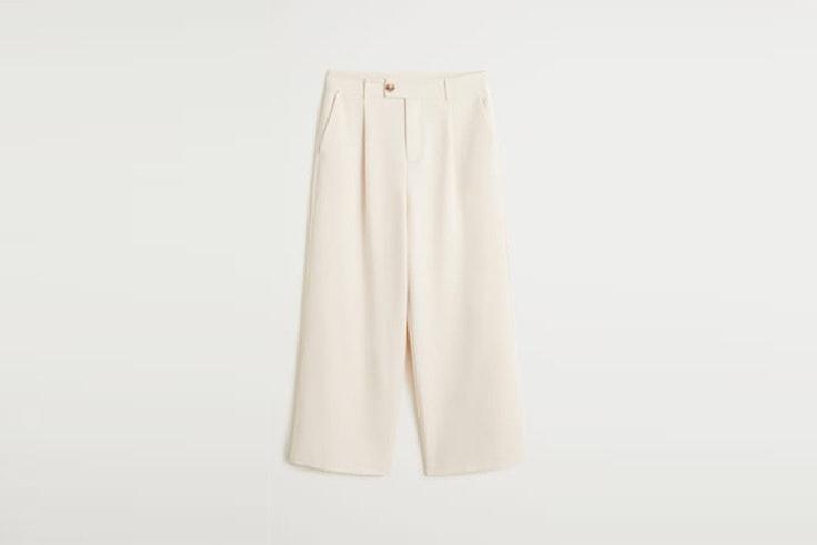 pantalon largo ancho color crudo mango María Valdés