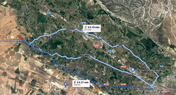 Rutas para caminar en Zaragoza en primavera: Miralbueno - Puente Clavería