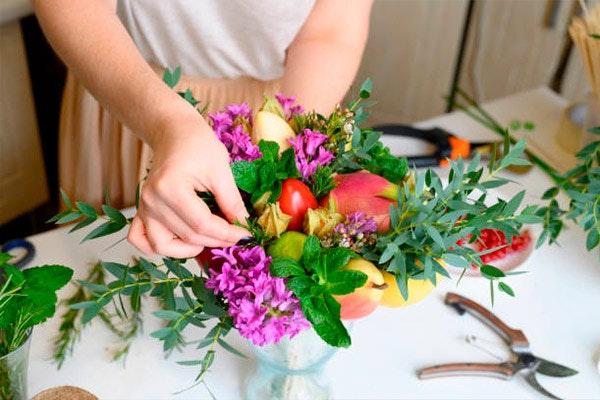 Centro de mesa con jacintos