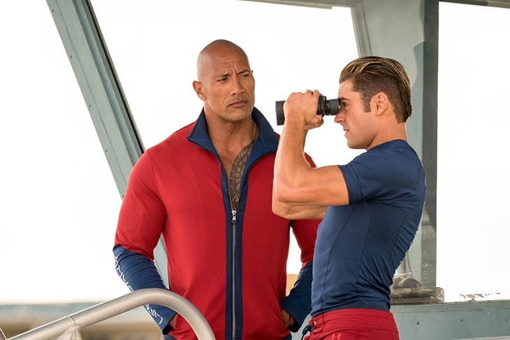 (L-R) Dwayne Johnson as Mitch Buchannon and Zac Efron as Matt Brody in the film BAYWATCH by Paramount Pictures, Montecito Picture Company, FlynnPicture Co., and Fremantle Productions