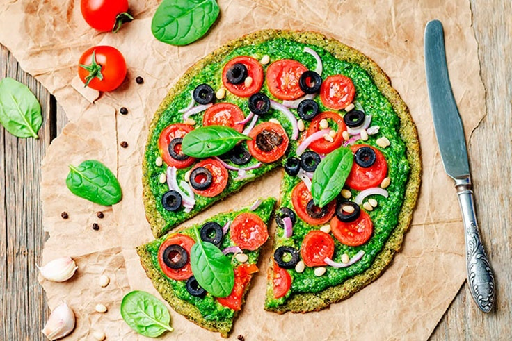 pizza healthy de espinacas