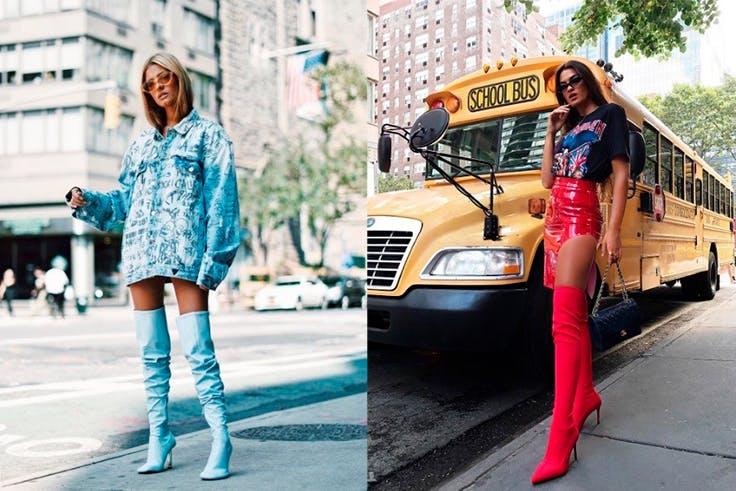 Botas tamaño XXL en el street style de New York