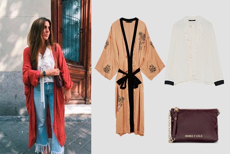 kimono y vaqueros para el otoño
