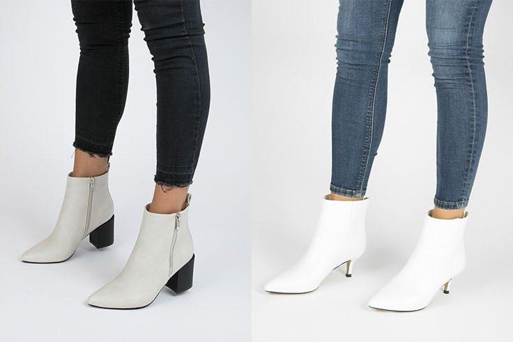 zapatos blancos botines