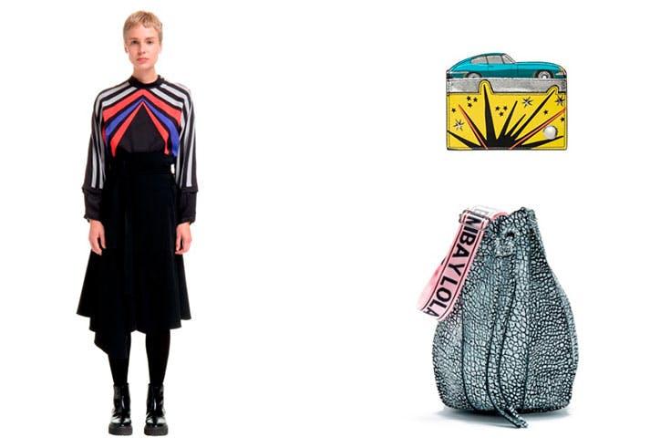 Novedades de Bimba y Lola: Camisa recta multicolor (145€) / Tarjetero coche (38€) / Bolso saca piel bicolor (330€).