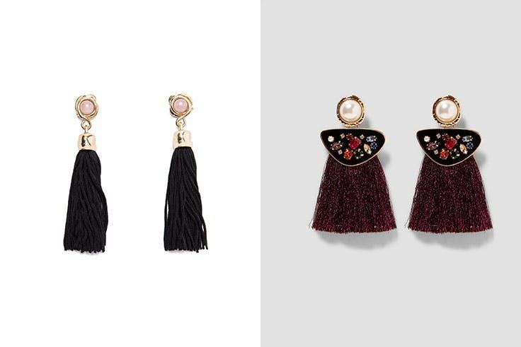 Pendiente borla Bimba y Lola (24€) / Pendiente perla flecos Zara (12,95 €)