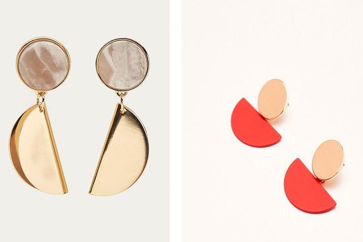 Pendiente piezas dobladas Massimo Dutti (19,95€) / Pendiente forma geométrica Sfera (3,00€)
