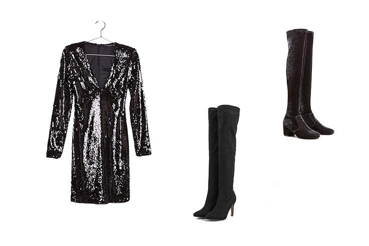 moda complementos vestido negro botas
