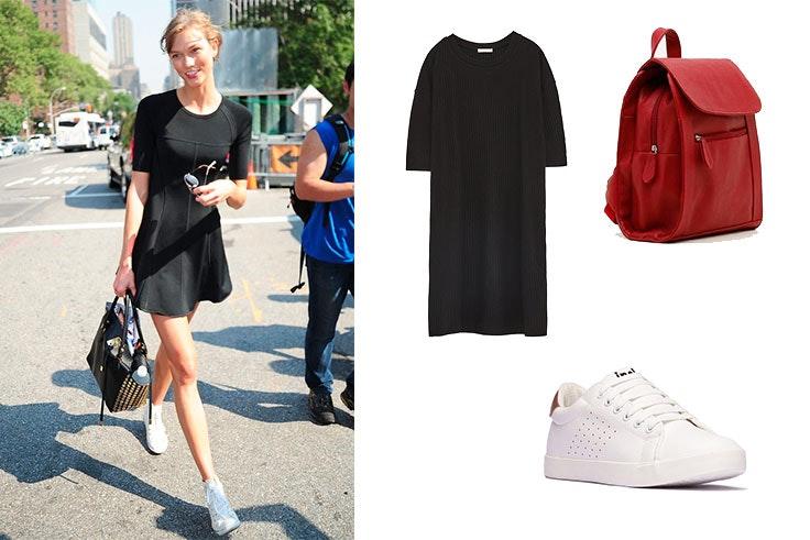 moda vestido negro zapatillas deportiivas