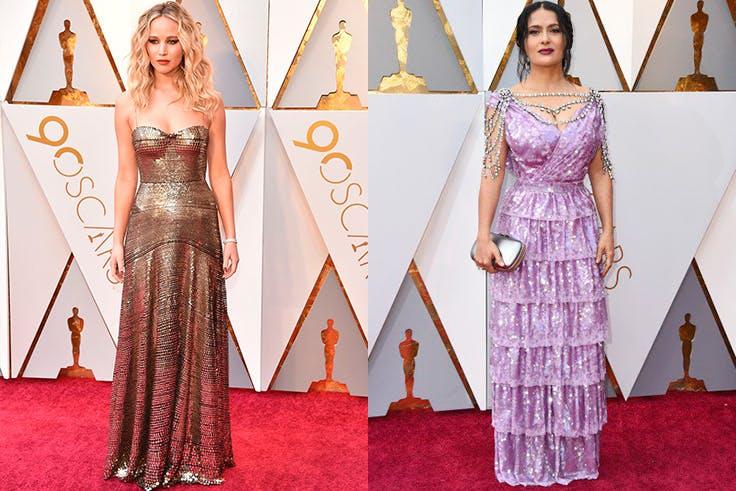Looks de Jennifer Lawrence y Salma Hayek en los Oscar 2018