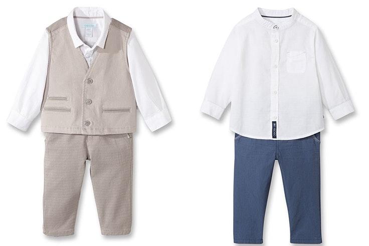 Conjunto tres piezas bebe niño 39,99€ de Okaïdi / Camisa blanca y pantalón bebe niño 20,99€ de Okaïdi.