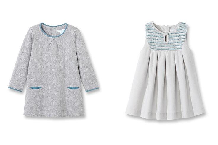 Vestido con dibujos brillantes bebe niña 17,49€ / vestido arreglado bordado bebe niña 11,99€ de Okaïdi.