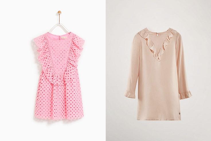 Vestido bordado suizo 25,95€ de Zara / Vestido detalle volantes 35,95€ de Massimo Dutti.
