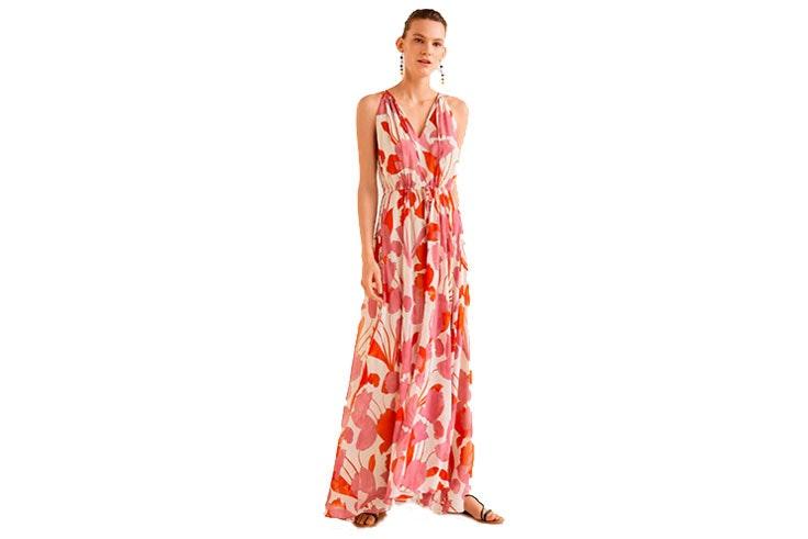 mango vestido largo flores