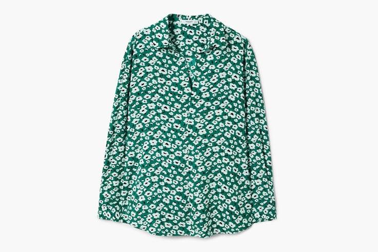 camisa-verde-estampado-flores-mango