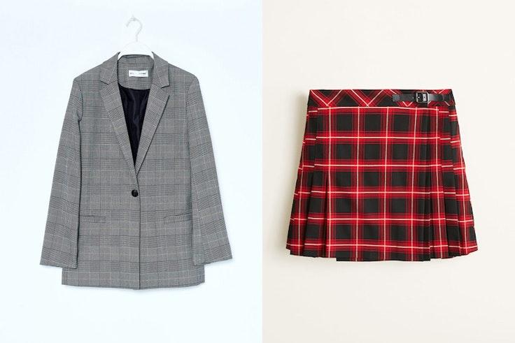 chaqueta-americana-cuadros-gris-sfera-falda-cuadro-escoces-mango