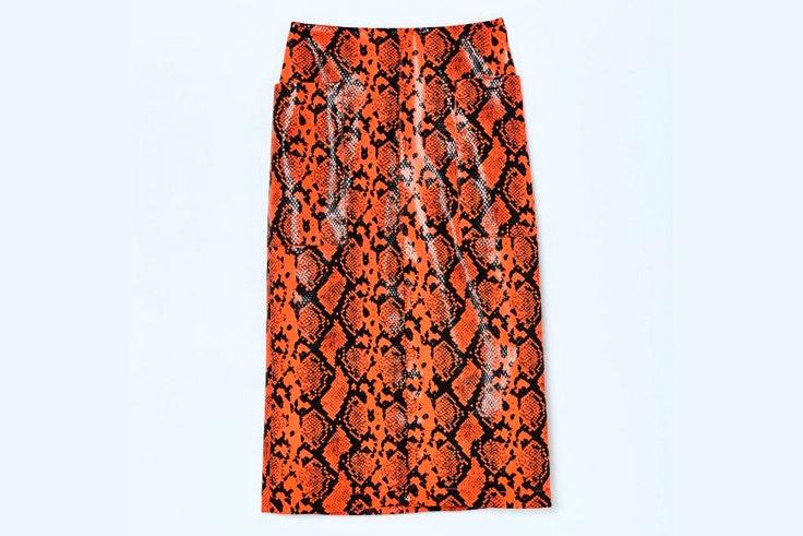 falda-cuero-naranja-animal-print-estampado-serpiente-sfera