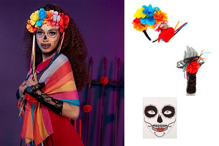 Disfraz Catrina con complementos de Claire´s. diadema de flores (6,49€), guantes (3,49€) y pegatinas para la cara (2,99€).