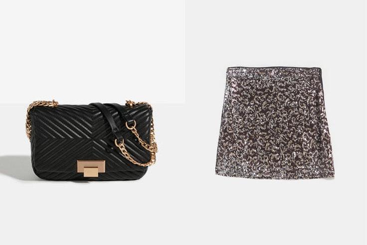 bolso-negro-bandolera-cadena-parfois-falda-lentejuelas-leopardo-zara