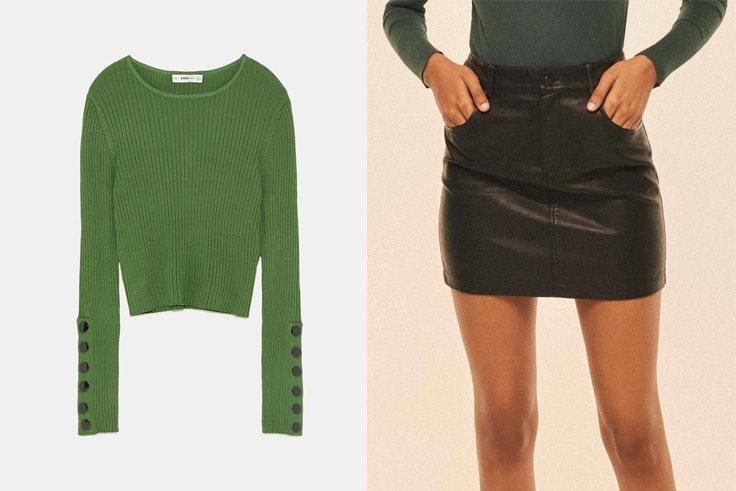 botas-serpiente-jersey-verde-zara-falda-negra-amichi
