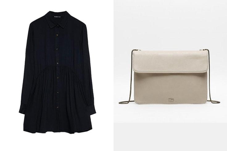 botas-serpuiente-vestido-negro-camisero-stradivarius-bolso-bandolera-beige-misako