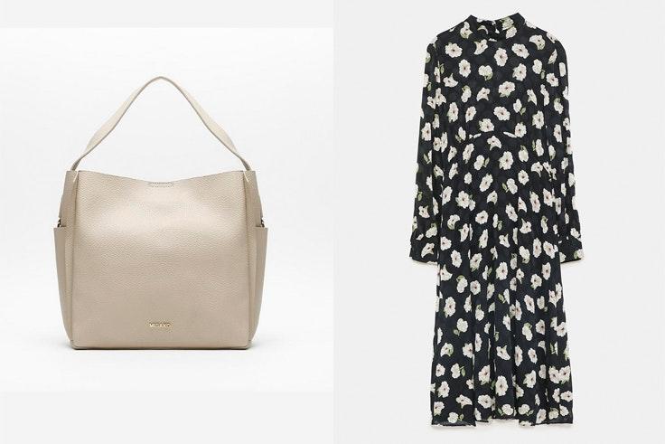 bolso-beige-misako-vestido-negro-estampado-flores-zara