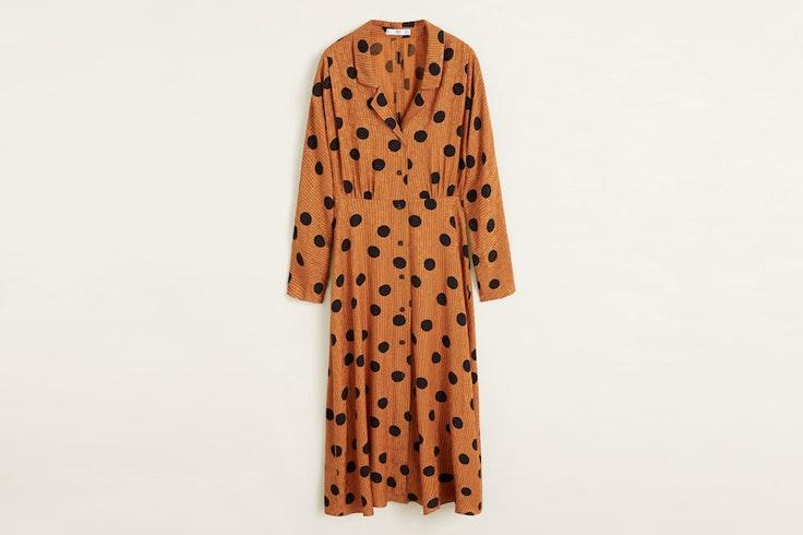 vestido-naranja-marron-estampado-lunares-mango