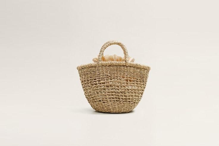 bolso de rafia mini mango