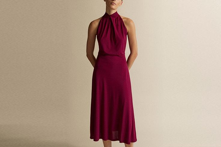 vestido color vino massimo dutti