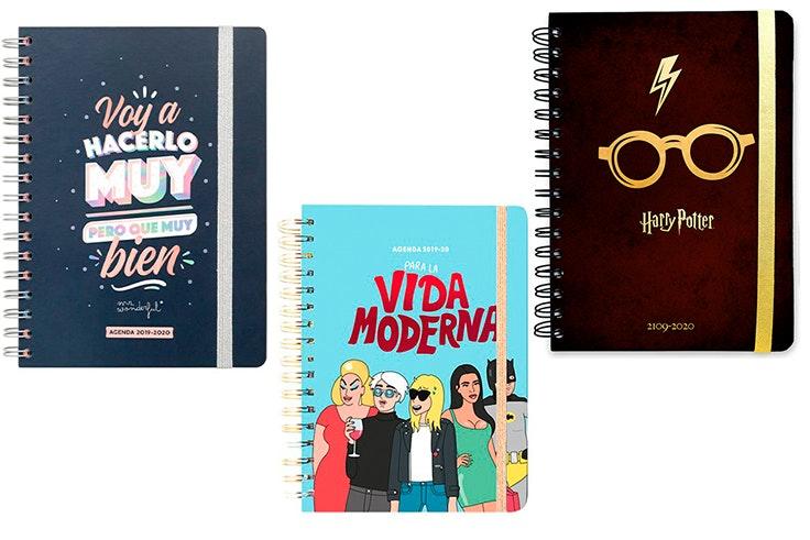 Agenda MrWonderfull (16,95€), agenda Moderna de pueblo (18,95€) y agenda Harry Potter (12,90€).